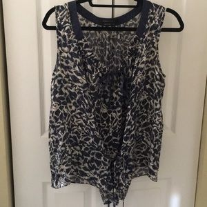 Bcbg sheer double tie Navy floral leaf print top